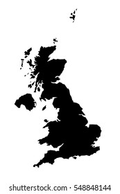Black detailed map of United kingdom. Vector EPS 10 illustration