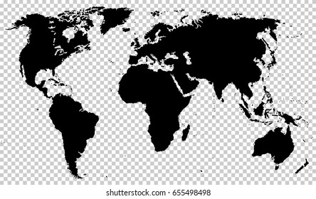 Black detailed world map isolated on transparent background. Vector EPS10