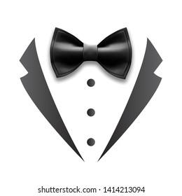 Black Details Of Man Wedding Suit Tuxedo Vector. Design Bow Tie, Collar And Buttons Elegance Accessory And Element Of Tuxedo. Gentelman Luxury Tux Costume Flat Cartoon Illustration