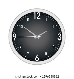 Black dial round wall clock with Arabic numerals isolated on white background, vector mock-up for design.