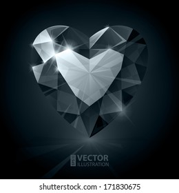 Black diamond heart shape. RGB EPS 10 vector illustration