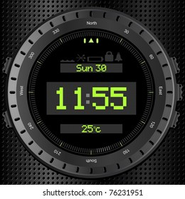 Black digital clock with time, date and temperature