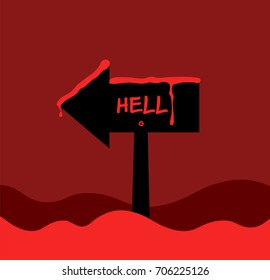 The black direct sign turn to left way to hell with blood. Torror halloween conception on red background. Flat design vector illustration.