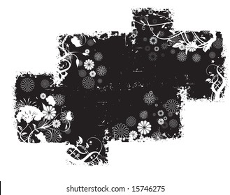 Black dirty grunge frame with flowery patterns and geometric patterns