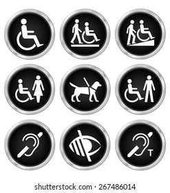 Black disability related icon set isolated on white background