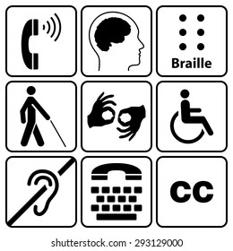 black disability symbols and signs collection, may be used to publicize accessibility of places, and other activities for people with various disabilities.vector illustration