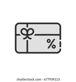 black discount icon like gift card. flat linear trend modern logotype graphic design isolated on white background. concept of marketing transaction for consumer or supermarket service for vip client
