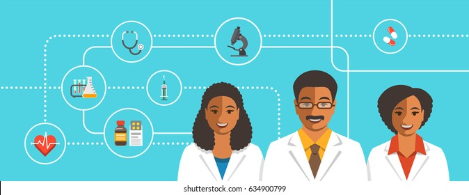 Black doctors team with medical icons. Health care flat vector background. Professional hospital services concept. Medical staff smiling faces. African american man therapist with female physicians