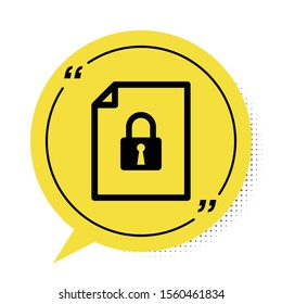 Black Document and lock icon isolated on white background. File format and padlock. Security, safety, protection concept. Yellow speech bubble symbol. Vector Illustration