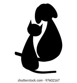 Black dog and cat