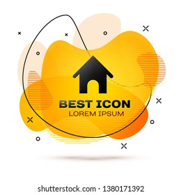 Black Dog house icon isolated on white background. Dog kennel. Fluid color banner. Vector Illustration