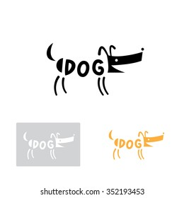 Black dog logo. Vector image. Three options.