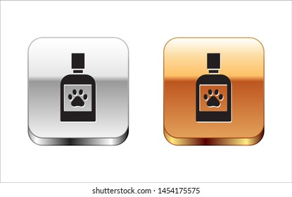 Black Dog medicine bottle icon isolated on white background. Container with pills. Prescription medicine for animal. Silver-gold square button. Vector Illustration