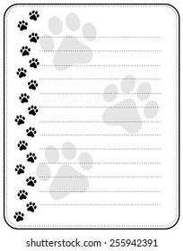 Black dog paw print border / frame with lines