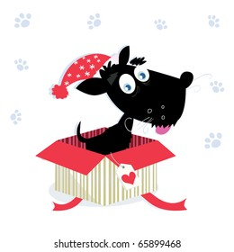 Black dog puppy sitting in a christmas present. Vector Illustration