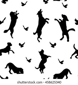 Black dogs and birds silhouettes, vector
