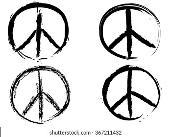 black doodle grunge peace sign