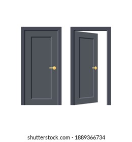 Black door. Doorway concept. Open and close door isolated on white background. Building and room entrance element mockup. Vector illustration