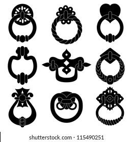 Black  door handle silhouettes set