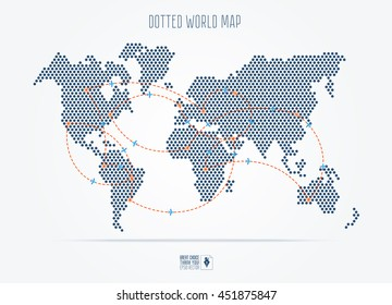 Black dotted abstract travel world map with flight routes. Vector illustration in flat style.