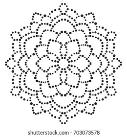Black dotted flower mandala. Decorative element. Ornamental round doodle isolated on white background. Geometric circle element. Vector illustration.