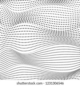 Black dotted squiggle lines on a white background. Monochrome op art design. Abstract futuristic computer graphic, deformed surface. Vector pattern. Scientific waving concept. EPS10 illustration