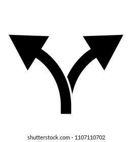 Black double arrow up and in different directions