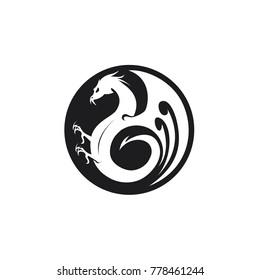 Black Dragon circle logo. winged dragon circle logo