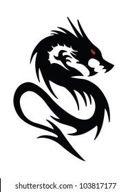 black dragon on white background
