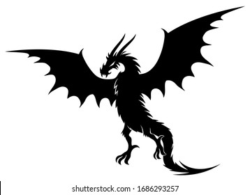 Black dragon sign on a white background.