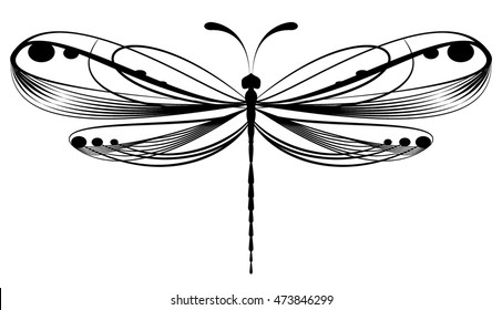 Black dragonfly on white background isolated. Vector illustration.