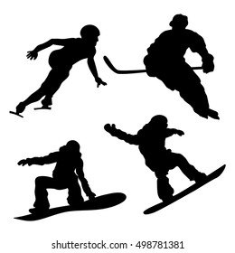 Black draw and white background. Hockey player, snowboarder, skater.