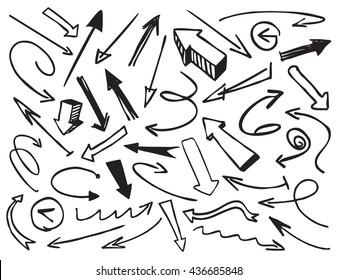 Black Drawn Arrows. Vector Illustration.
