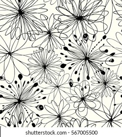 Black drawn background with round fantasy shapes, flowers. Vector abstract pattern, decorative linear texture