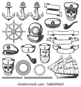Black drawn isolated vintage sailor naval icon set and ribbons on white background vector illustration