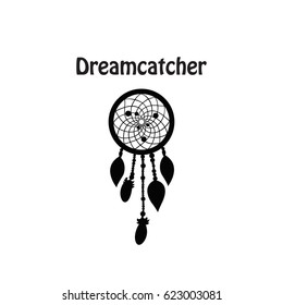 Black dreamcatcher silhouette isolated. Native american talisman. Boho style.Vector art