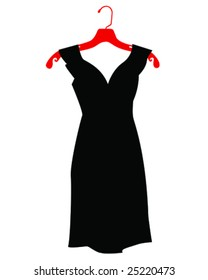 black dress on hanger