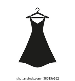 Black dress on hanger,Dress Icon