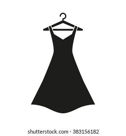 Black dress on hanger,Dress Icon