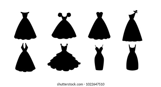 Black dresses collection. Fashion apparel set. Evening or cocktail short and long clothing silhouette icons. Vector illustration isolated on white background.