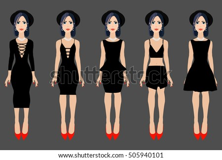 Black Dresses Collection Vector Illustration Different Stock Vector