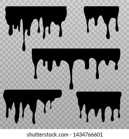 Black dripping liquid silhouettes isolated on checkered background. Oil splash and trickle leak sings. Vector illustration.