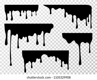 Black dripping oil stain, sauce or paint current vector silhouettes isolated. Liquid splash, splatter border, trickle leak illustration