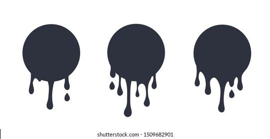 Black dripping slime seamless set. Flowing black fluid. Paint drops and blots.ime halloween signboard. black and white detailed vector illustration