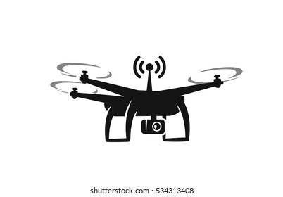 black drone Icon with action camera on white background