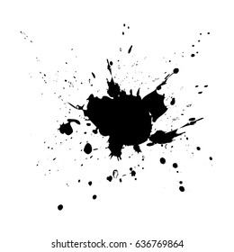 Black drops of paint and stains, ink blots. Vector ink texture.