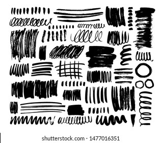 Black dry brush strokes hand drawn set. Grunge smears collection with curled lines and stripes. Abstract ink brush doodle textures. Vector ink freehand drawing. Hand drawn scribbles.