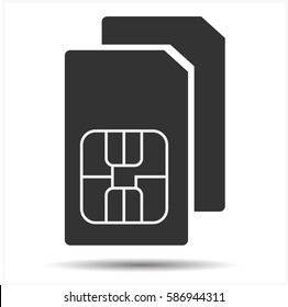 Black dual SIM card isolated on white background . Simple web icon in vector illustrator. Flat style.