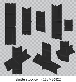 Black duct adhesive tape realistic. vector