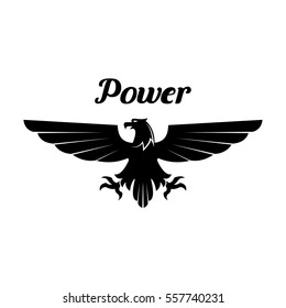 Black eagle heraldi isolated vector icon of bird with open spread wings and sharp clutches. Gothic predatory bird symbol for sport team mascot, shield emblem, army, military or security coat of arms